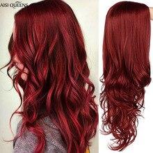 AISI QUEENS 긴 물결 모양의 합성 가발 여성을위한 빨간 가발 코스프레 블랙 핑크 가발 부분 부문 자연 고온 섬유