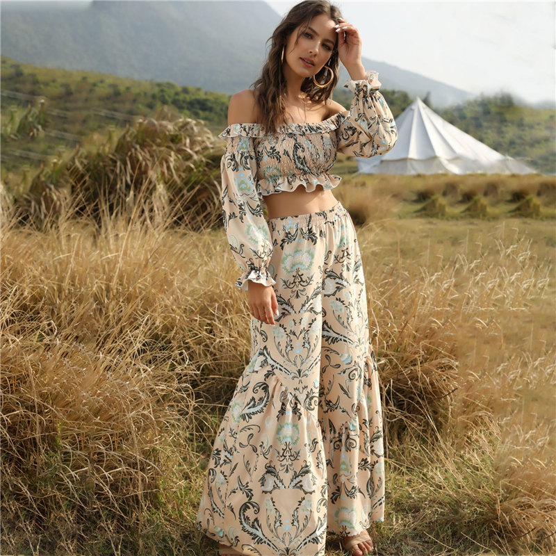 2020 New Summer Fashion Streetwear 2 Pieces Set Women Slash Neck Ruffles Top Print Loose Long Pants And Top Set