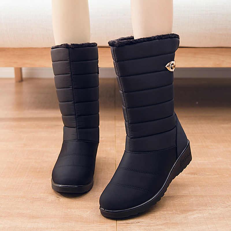 Kadın Çizmeler Orta Buzağı Kışlık Botlar Takozlar Topuklu Botas Mujer Su Geçirmez Kar Botları 2019 Kadın Kış Ayakkabı