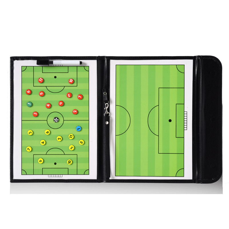 Soccer Football Tactic Coach Board Leather PVC Teaching Trainning Assisitant Portable Fold Magnetic Command Boards