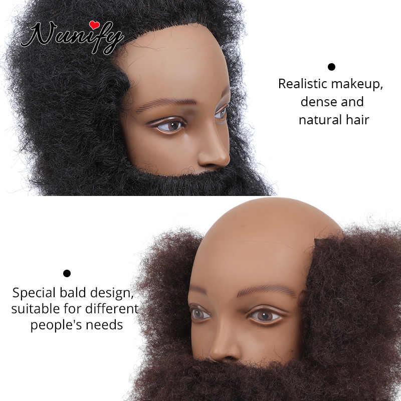 Nunify 2 Stijlen Korte Afro Kinky Krullend Haar Training Head 100% Echt Menselijk Haar Manequin Haar Pop Voor Zwarte Mannen manican Kapper