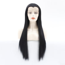 Beauty tip Synthetic Lace Front Wig long black/dark brown/medium brown Heat Resistant Fiber Straight Hair Fashion cosplay wig(China)