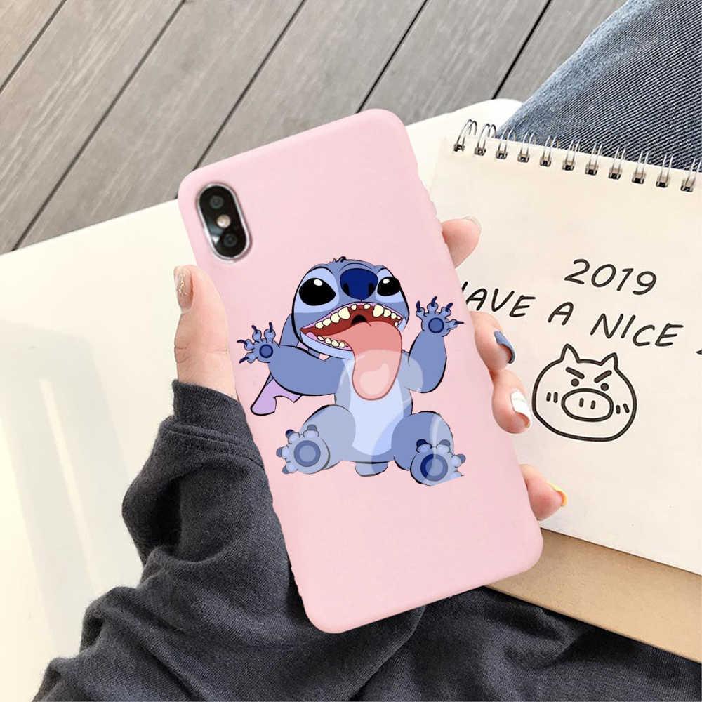 Fashion Cute Cartoon Stitch Soft TPU Case For iPhone X XS 7 7 Plus 6 6S Plus XR XS max Matte Pink Silicone Case