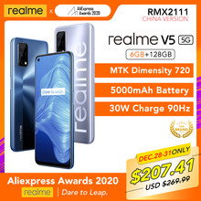 Realme V5 5G 6GB RAM 128GB ROM Helio 720 90Hz Display 30W Blitz Charge 5000mAh 48MP Kamera Unterstützung Multi Sprache Play Store