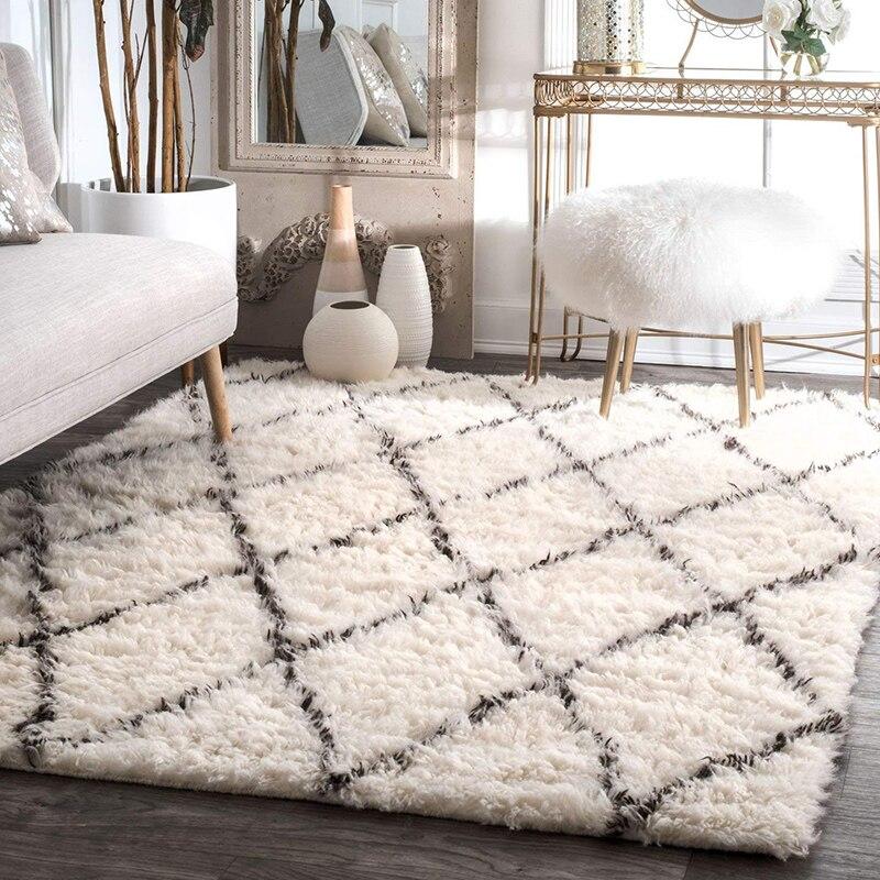 Tapis nordique Shaggy salon maison chambre tapis décoratif moelleux tapis canapé Table basse tapis de sol salle d'étude tapis maroc