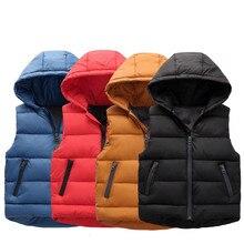 Детский жилет куртка для маленьких мальчиков и девочек детская зимняя одежда Детские теплые жилеты модные толстовки, пальто для От 3 до 11 лет GCC042