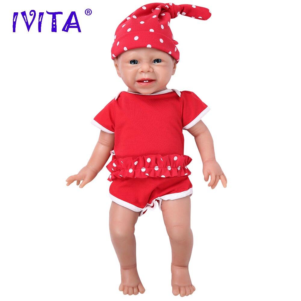 IVITA WG1516 48 см 3,4 кг Реалистичная силиконовая кукла новорожденная девочка младенец Реалистичная кожа мягкая игрушка высокого качества