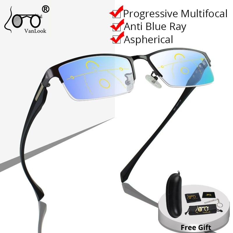 Gafas de lectura multifocales progresivas para hombres Anti Blue Ray Metal Rectangular gafas de medio marco + 125 + 175 + 225 + 275