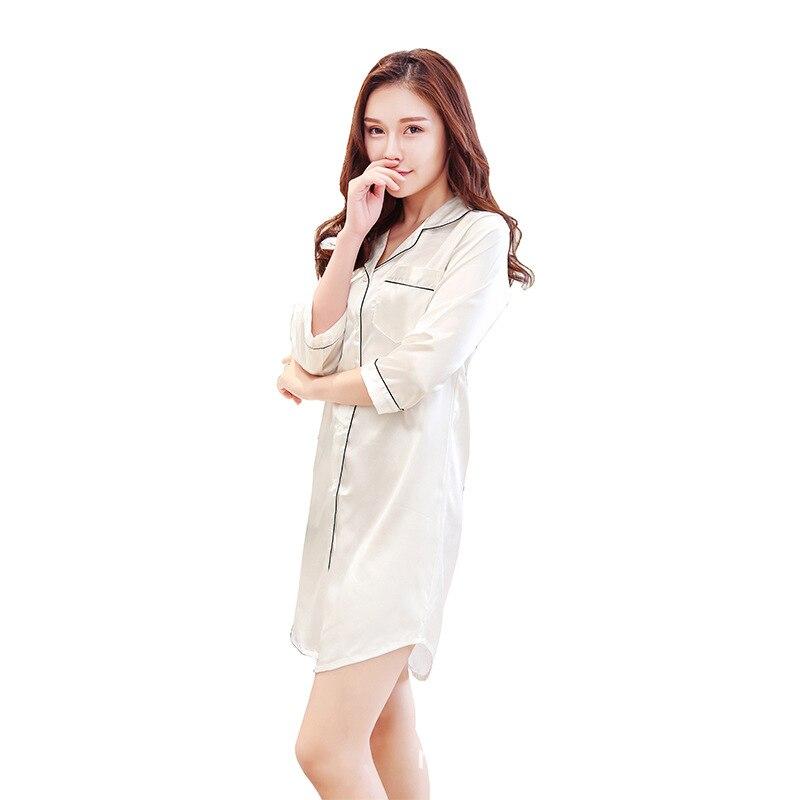 FZSLCYIYI 2019 New solid shirt Nightgown Sleepwear Womens Autumn Pyjamas Big Size Nightdress Nightwear Summer Homewear
