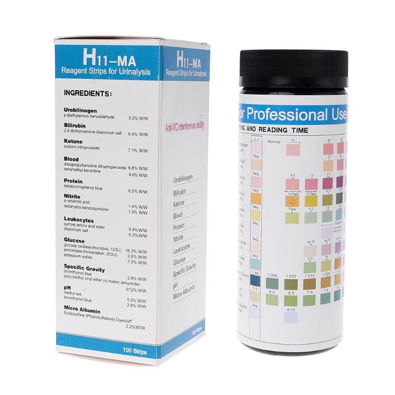 100 pièces H-11MA bande de réactif de bande de Test d'urine pour 11 analyses d'urine avec Test de capacité d'interférence anti-vc