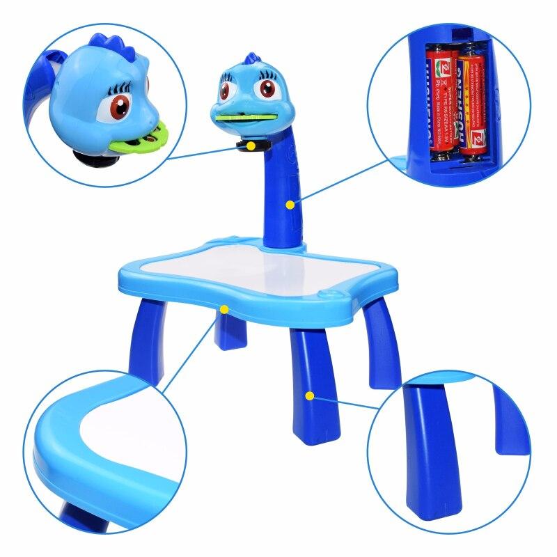Mesa de brinquedo infantil com projetor de led, mesa de desenho e arte para crianças mesa de pintura artesanato educacional ferramentas de pintura para meninas 3