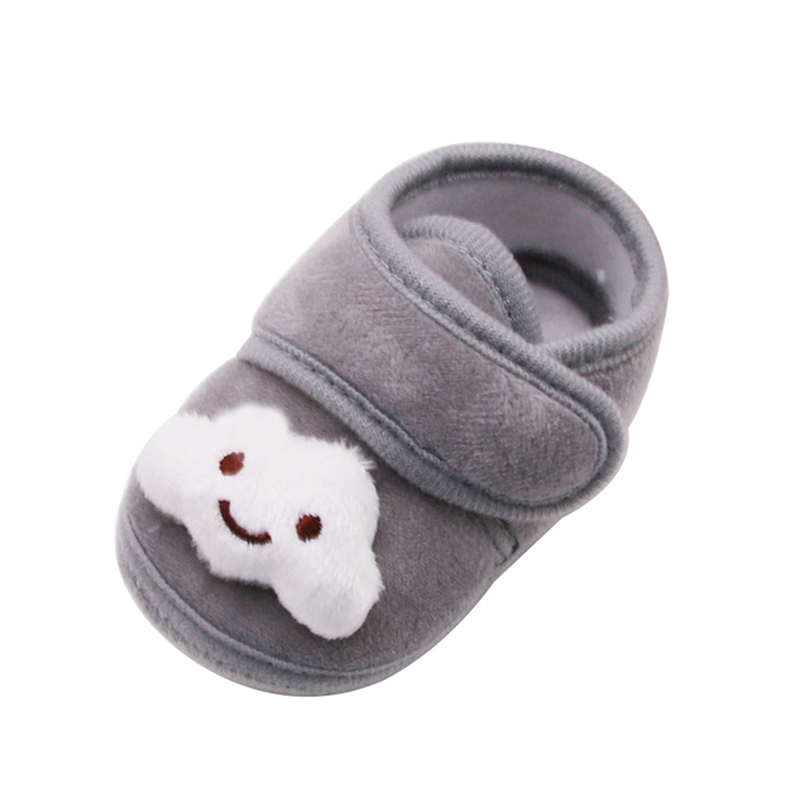 Newborn Baby Girl Boy First Walkers Toddler Plush Hook&loop Shallow Cute Cartoon Crib Shoes Soft Sole Warm Shoes Winter A40