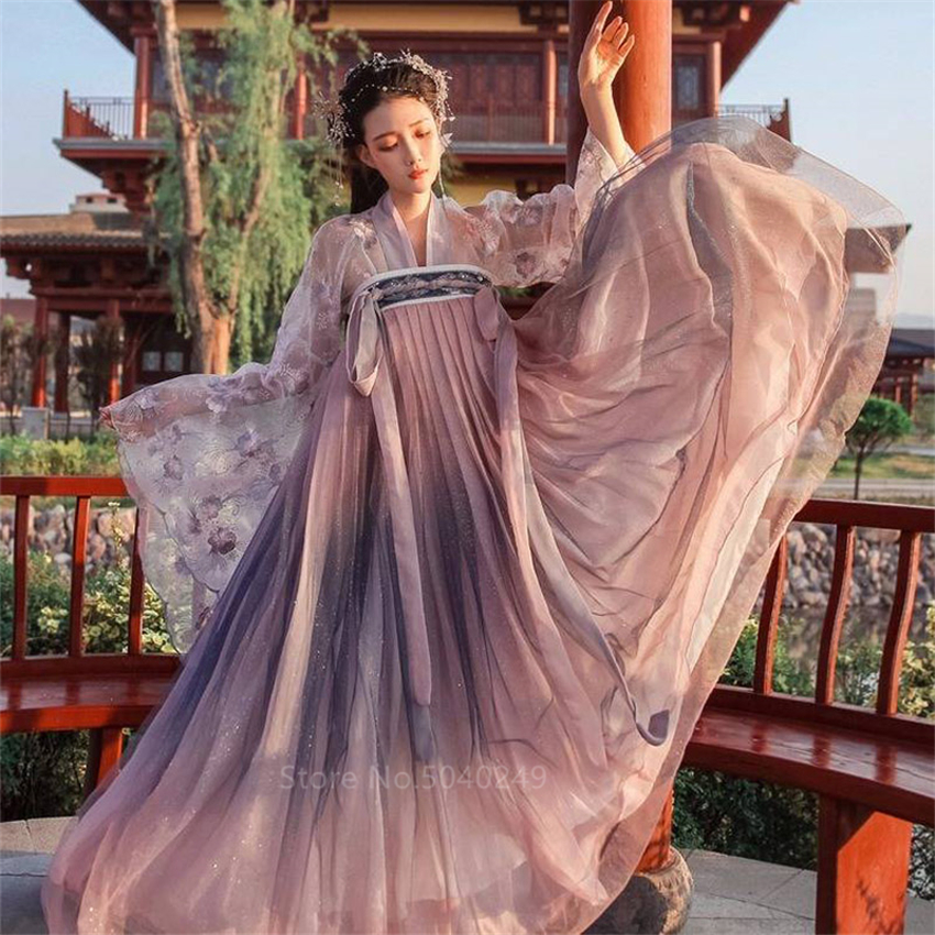 Ancient Chinese Women Hanfu Costume Princess Fairy Dress Oriental Floral Embroidery Tang Dynasty Cosplay Stage Dance Outfit