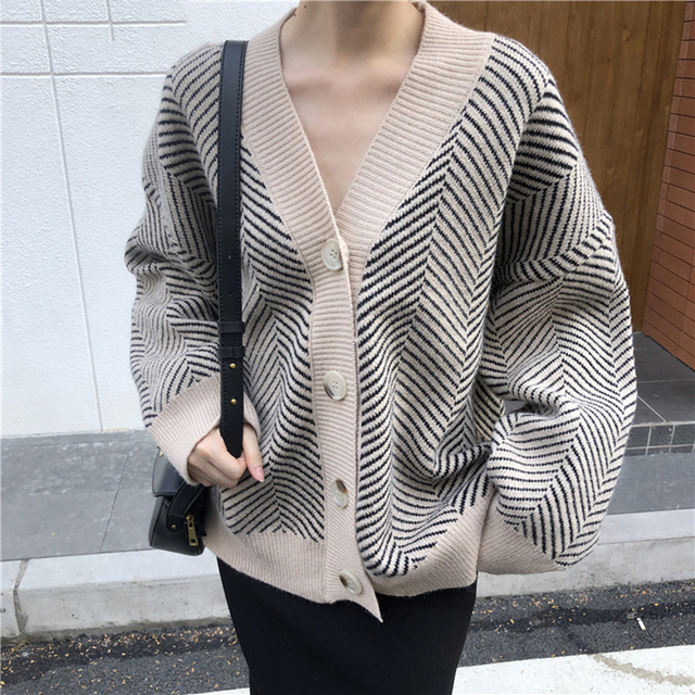 Ailegogo 2020 Women's Knitwear Autumn Winter  Striped Casual V-Neck Cardigans Button Cardigan Loose Korean Sweaters SWC3033 3