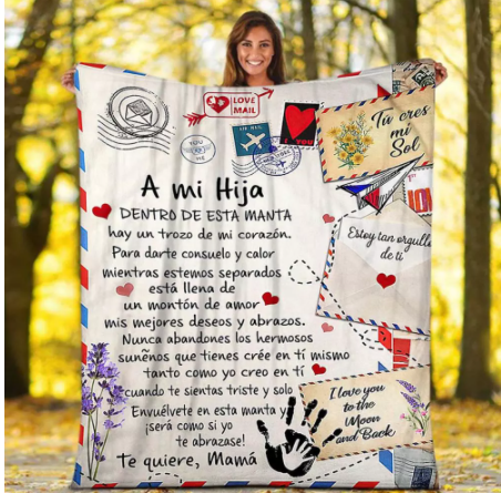 Spanish Letters blanket to my daughter in spanish Warm Cozy Letter Throw Blanket for Bed Sofa Couch Birthday Gift
