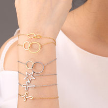Women's Stainless Steel Bracelet Gold and Silver Heart Shape Personality Bracelet Geometric Bracelet Fashion Simple Charm Jewelr(China)