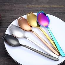 304 Stainless Steel Spoon Tableware Spaghetti Spork Salad Noodle Western Food Fork Noodles Spoons Kitchen Tools