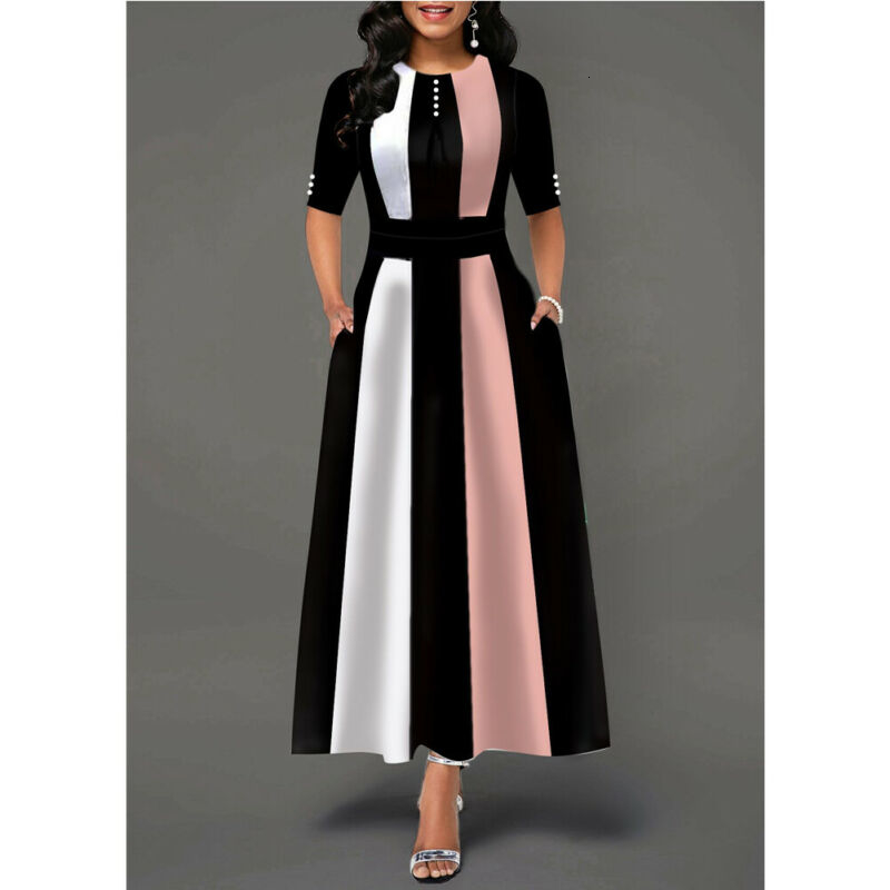S-XXL Plus Size Long Maxi Dress Women Striped Color Block Print Party Dress Large Swing Bodycon Dress Autumn Bohemian Dresses