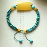 Fine JoursNeige Hand Woven Bracelets Blue Beads with Yellow Natural Stone Bracelets for Women Men Classic Fashion Jewelry