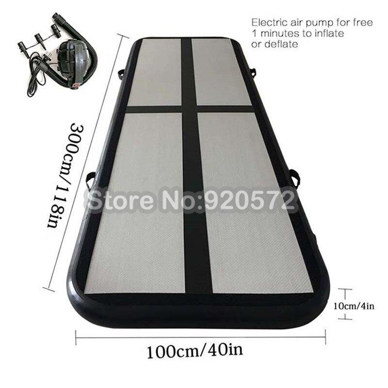Livraison gratuite piste d'air gonflable de gymnastique noire 3x1x0.1 m, piste d'air gonflable de tapis de gymnastique, piste d'air gonflable