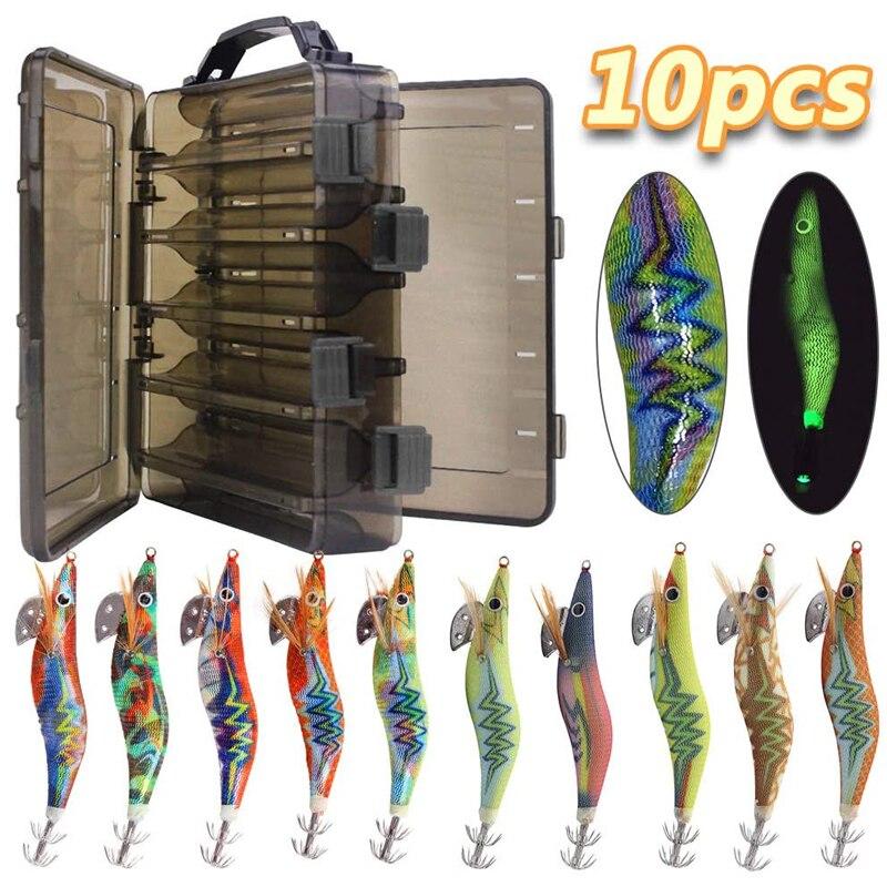 10pcs/box Luminous Squid fishing bait hooks Wooden Shrimp jigs Fishing Lures hook 12g 15g Artificial bait with double layer box|Fishing Lures| - AliExpress