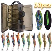 10pcs/box Luminous Squid fishing bait hooks Wooden Shrimp jigs Fishing Lures hook 12g 15g  Artificial bait with double layer box