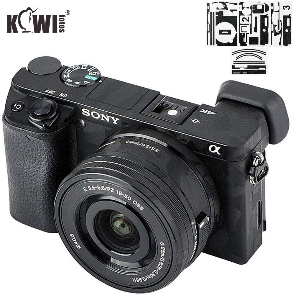 Kiwi Anti-Scratch Camera Body Skin Cover Protector Film for Sony Alpha A6500   SELP1650 16-50mm Lens - 3M Sticker Shadow Black