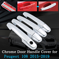 Chrome Car Door Handle Cover for Peugeot 108 2015~2019 Protective Exterior Covering Trim Accessories Car Stickers 2016 2017 2018|Car Stickers| |  -