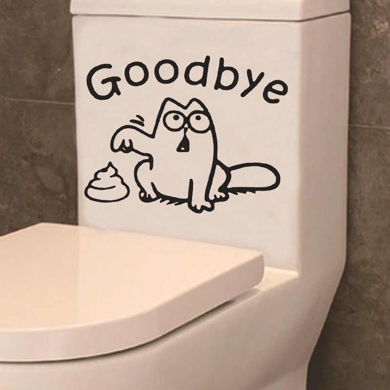Assento do vaso sanitário adesivo de parede do banheiro engraçado gato preto tanque carro janela decoração da casa dos desenhos animados animal dizer adeus decalques vinil mural arte