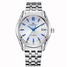 FNGEEN Blue Rivet Mechanical Watches for Men Calendar Waterproof Steel Strap Hollowed Dial Relogio Masculino