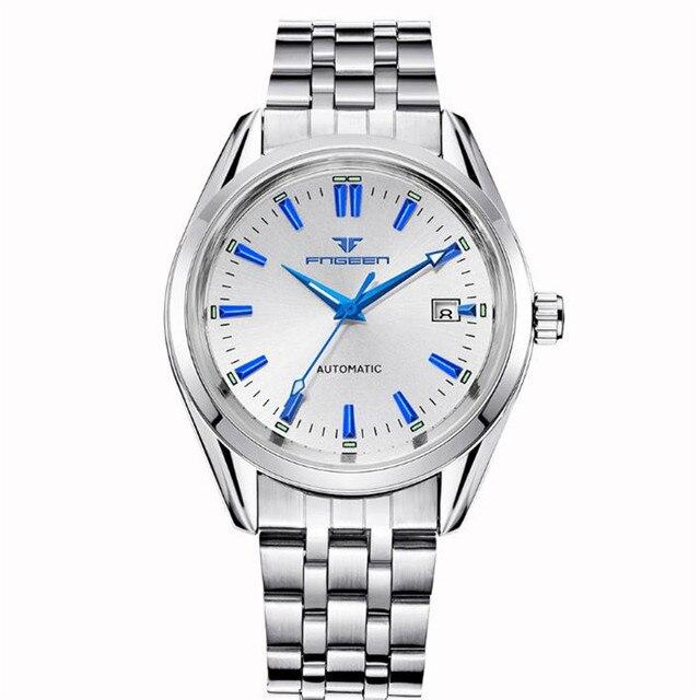 Мужские наручные часы FNGEEN, синие механические часы с заклепками и календарем, водонепроницаемые, со стальным ремешком