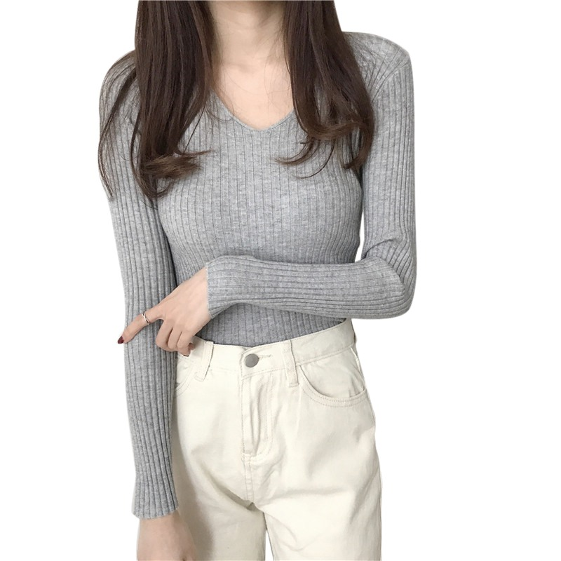 Women Slim Autumn Sweater Casual V-Neck Bottoming Sweaters Solid Color Winter Basic Tops Wild Long Sleeve Pullover