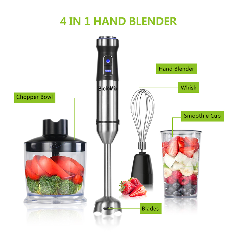 H7dace32267cd4b8d9e047e2d5f17ebd0X 4-in-1 Stainless Steel 1100W Immersion Hand Stick Blender Mixer Vegetable Meat Grinder 500ml Chopper Whisk 800ml Smoothie Cup