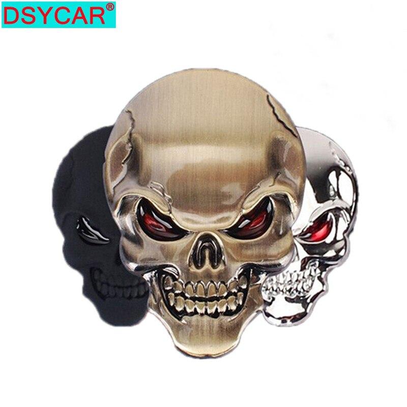 DSYCAR 1Pcs di Modo 3D Del Cranio In Lega di Zinco del Metallo Autoadesivo Dellautomobile per Auto Moto Logo Del Cranio Distintivo Dellemblema Car Styling adesivi Nuovo