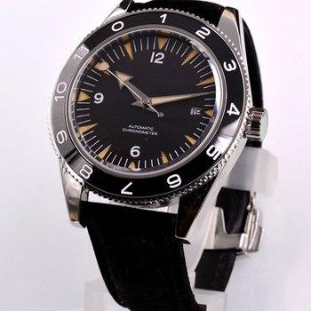цена 41mm Miyota 8215 automatic watch men mechanical wishwatches waterproof luminous Sterile dial calendar sapphire glass leather SS онлайн в 2017 году