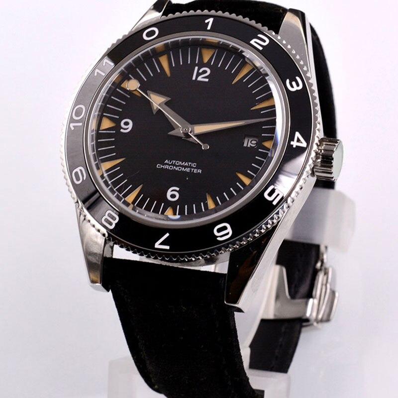 41mm miborough 8215 montre automatique hommes montres mécaniques étanche lumineux stérile cadran calendrier saphir verre cuir SS