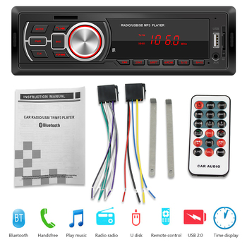VODOOL 1DIN In-Dash Car Radios Stereo Digital Bluetooth Audio Music Stereo 12V Car Radio Mp3 Player USB/TF/AUX-IN image