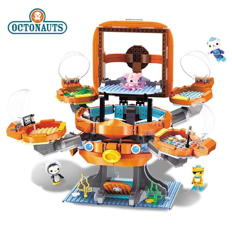 Octonauts 698 Pcs Octopus Castle Building Block Toys Educational DIY Assembled Ship Small Particles Blocks Bricks Children Toys