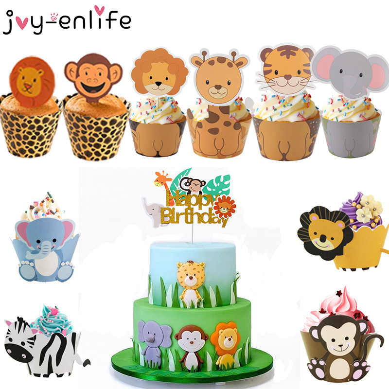 Joy-Enlife Ragazzo Torta Di Compleanno Decor Zoo Scimmia Leone Jungle Party Cake Toppers Safari A Tema Cupcake Wrapper Torta di Bandiera decor