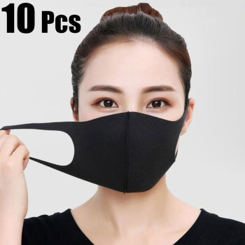 10 Pcs Face Mouth Mask Anti-Infection Virus Black Mouthmask For Unisex Anti-dust Mouth Facemask Washable Breath Straps Wholesale