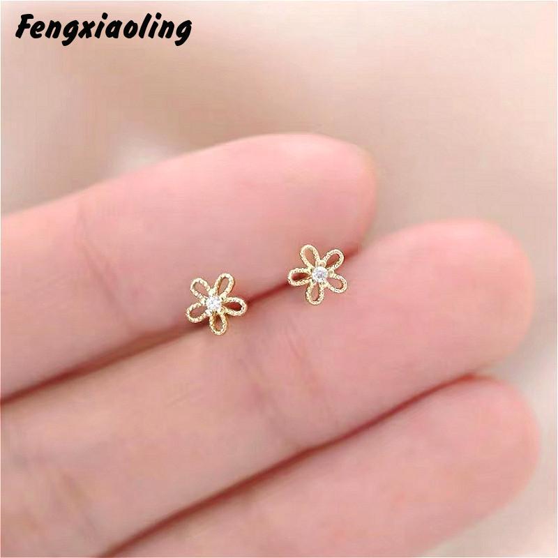 Fengxiaoling minimalista moderno Real 100% plata esterlina 925 Mini circonita pequeña flor Stud pendientes para las mujeres estudiantes de