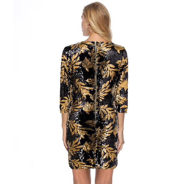Fashion Round Neck Print Dress  Beach Sexy Short Dresses Long Sleeve Bodycon Office Dress European And American Party Dress 2