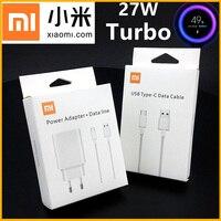La UE Xiaomi Mi 9 SE cargador 27W Original Turbo adaptador de corriente de carga USB tipo C 3A Cable para Redmi Note 8 9 8 Pro Mi 9 Max 3 Mi CC9