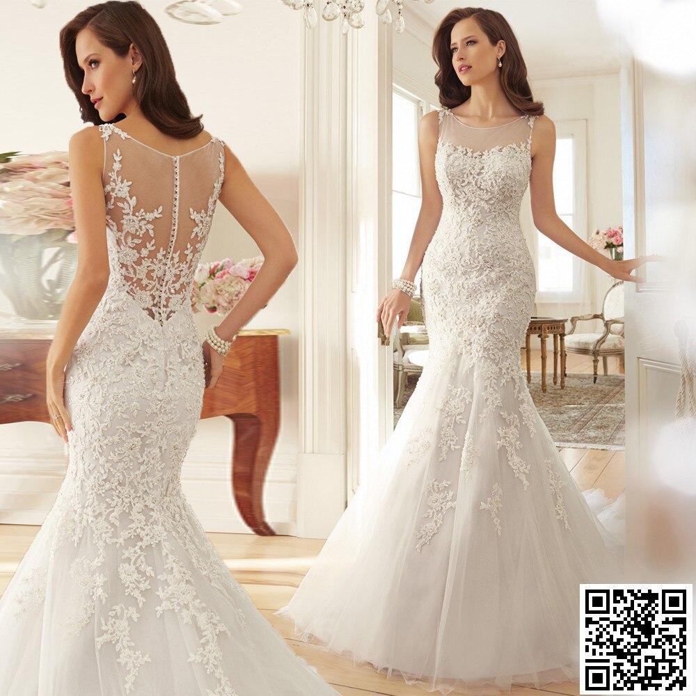 Stunning Scoop Sheer Back Sleeveless Lace Wedding Dress Beaded Chapel Train Mermaid Wedding Dresses Sexy Wedding Dress 2016