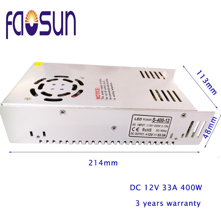 LED Strip <font><b>DC</b></font> to <font><b>AC</b></font> 12V 33A 400W Switching Power Supply Light Display <font><b>AC</b></font> LED PSUs Metal Case 400W. image