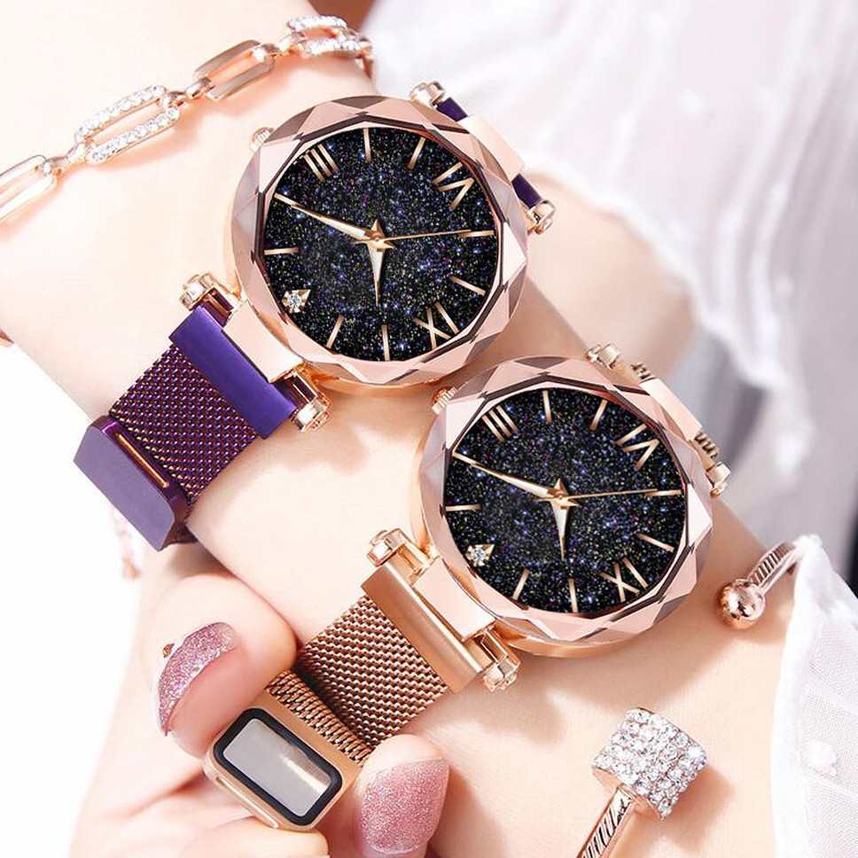 Luxury watch Women Watches Magnetic Starry Sky Clock Fashion Diamond Female Quartz Wristwatches rose Gold Gifts For Women