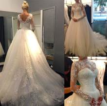 2018 Sexy New Sheer Lace Long Sleeves Backless A-Line High Neck Tulle Applique Beaded Bridal Gown mother of the bride dresses(China)