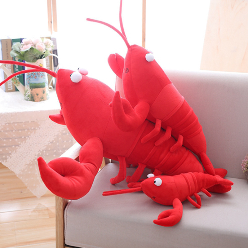 1PC 30/55/<font><b>80cm</b></font> Simulation Lobster Plush Toy <font><b>Doll</b></font> Stuffed Sea Animal lobster pillow Creative Soft Children Boy And Girl Toys image