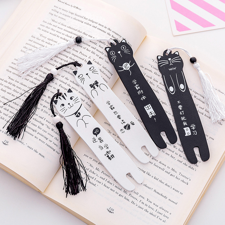 Cartoon Black And White Cat Bookmark Wood Tassel Book Mark Stationery School Office Supply Escolar Papelaria