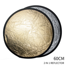 "SH 24""(60cm) 2 in 1 Round Reflector Multi Disc Diffuers Light With Bag Portable Collapsible Silver & Gold For Photography Studio"
